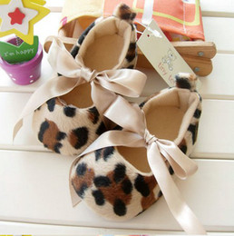 Barato Sapatos Prewalker Grossista-Atacado - sapatos de bebê Sapatos de solos macios bebê - Leopard Infant Booties sapatos Girl's Prewalker First walker shoes