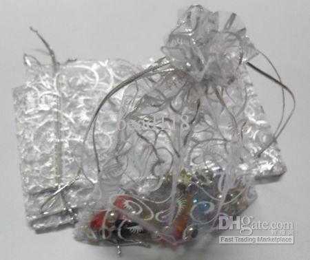Heiß ! 100 stücke Weiß Hot silber Reben Muster Organza Geschenk Taschen 10x12 cm Schmuck Beutel