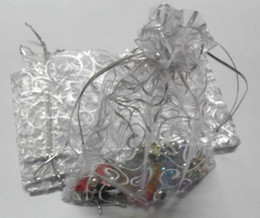 Wholesale wedding gifts bags - Hot ! 100pcs White Hot silver Vine Pattern Organza Gift Bags 10x12cm Jewelry Pouches