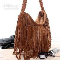 Wholesale Suede Fringe Purses - 2013 Hot sale Suede Fringe Tassel Shoulder Bag women's fashion brown handbag purse tote bags bag