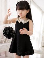 Wholesale Model Crochet Dresses - Wholesale children skirt girls dress summer new Korean models openwork crochet dress princess dress skirt
