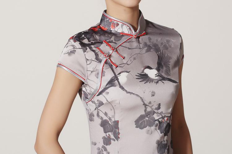 Wholesale Tradition China Tang Cheongsam Gray