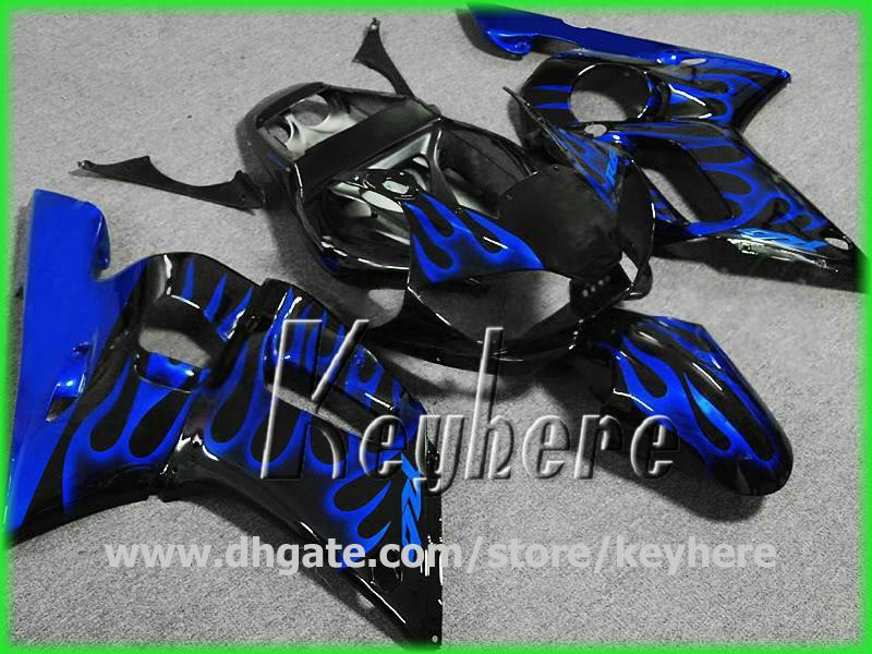 Gratis 7 regali Personalizza kit carena YZF R6 1998 1999 2000 2001 2002 YZFR6 98 99 00 01 02 carene G1h blu fiamme moto carrozzeria set