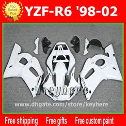 Wholesale Black 99 R6 Fairing Kit - Free 7 gifts Customize fairing kit for YZF R6 1998 1999 2000 2001 2002 YZFR6 98 99 00 01 02 fairings G3h white black motorcycle body work