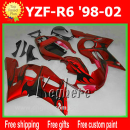 Wholesale 1998 Yamaha R6 Custom - Free 7 gifts Custom race fairing kit for YZF-R6 1998 1999 2000 2001 2002 YZF R6 98 99 00 01 02 fairings G1i new red black motorcycle parts