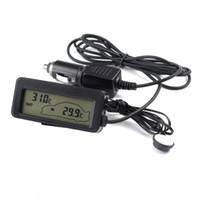 Wholesale Digital Temperature Inside Outside - DC12V Digital Car Thermometer Black Portable Car Inside Outside Temperature Meter Monitor Blue Backlit With 1.5M Cable Sensor