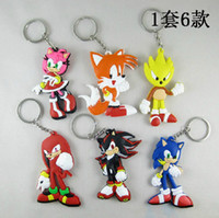 Wholesale Sonic Pvc - 6pcs set 3int 8cm SEGA sonic the hedgehog Figures toy silicone keychain sonic Characters key