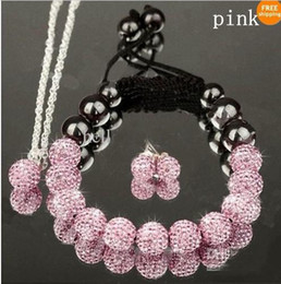 Wholesale Hot Pink Ball Earrings - 2017 Mix colors 10mm crystal clay disco ball shamballa necklace bracelet earring set