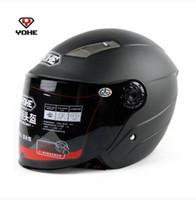 kask nokta motokros toptan satış-motosiklet mat siyah Yarım kask, motokros YOHE 837R elektrikli bisiklet suya dayanıklı kask yh-837 Yarım yüz Dot Soğuk