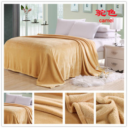 Wholesale Single Throw - super thickening sheet soft flannel throw blanket warm double single size 150*200cm coffee yellow pink purple blue 12 colors