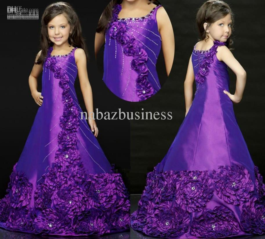 Flower Beaded Christmas Girls Party Dresses Pageant Dresses For ...