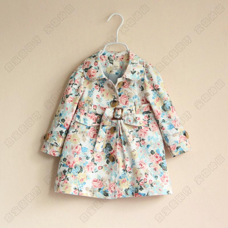 New Western Style Baby Girls Spring Autumn Tench Floral Coats Kids ...