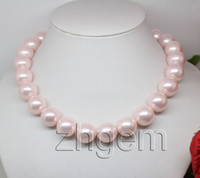 Compra Perline Rotonde Da 16 Mm-Collana in madreperla con conchiglia rosa naturale 16mm perle rotonde 17,5