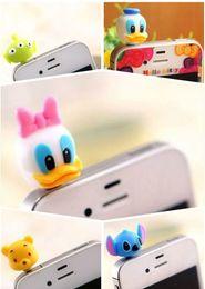Wholesale Animal Cap Plug Iphone - Free Ship 100pcs Silicone 3D Cartoon Animals Earphone Anti Dust Plug Dustproof Ear Cap for Cell Phone iPhone 5 5G 4 4S