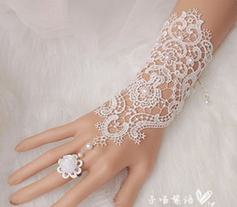 Wholesale Elegant Pearl Bracelet - 2pcs=1pair elegant lace pearl wedding party prom Jewelry bracelet with ring wristband Bracelet Bridal accessories jb048