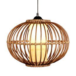 "Discount rattan dining lamp - Modern 14"" Handmade Rattan Pendant Light Free Shipping Study Dining Room Pendant lamp Southeast Asia Stylish Restaurant Pendant Lighting"
