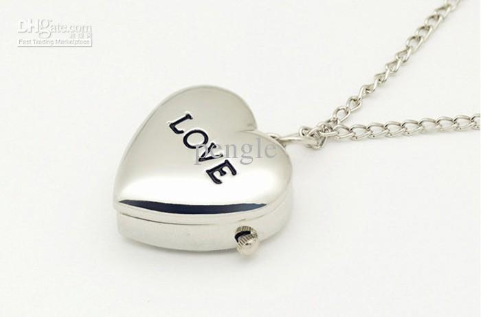 2013 hete mooie schattige zakhorloge met ketting liefde-vormige horloge kettingen pw0011 / gratis verzending
