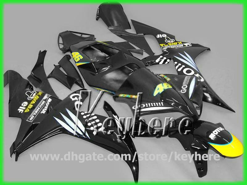 Gratis 7 geschenken ABS Plastic Fairing Kit Foryamaha YZF-R1 2002 2003 YZFR1 02 03 YZF R1 BIJGELIJKHEID G6G Hoogwaardig zwart GO !!! motorfiets carrosserie