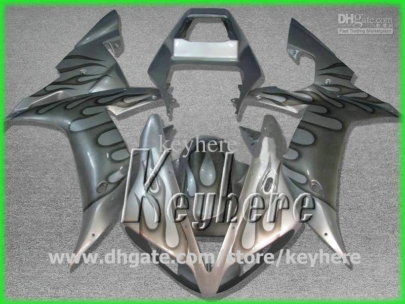Kit de carénage en plastique ABS gratuit 7 cadeaux pourYAMAHA YZF-R1 2002 2003 YZFR1 02 03 carénage YZF R1 flammes noires en carrosserie de moto argent