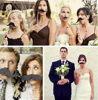 Wholesale Designs Funny Photo Booth Props - 15 styles Designs Funny Photo booth props, 5 lips 5 moustaches 5 glasses on sticks for wedding and party shoot props