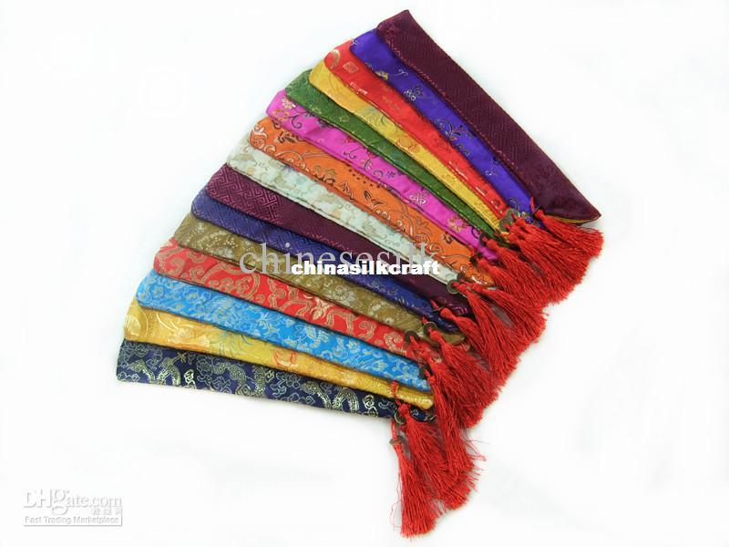 Novelty Silk brocade Printed Chopstick Bag Chinese style Tassel Pouch 50pcs/lot mix color Free shipping