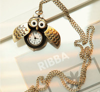 Hot Lovely Cute pocket watch With necklace Owl- shaped watch ...