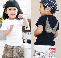 Wholesale Girls Wing Top Shorts - Wholesale - NEW kids boy children t-shirt Crystal boys girls t-shirts Angel wing top tee short sleeve 5p l