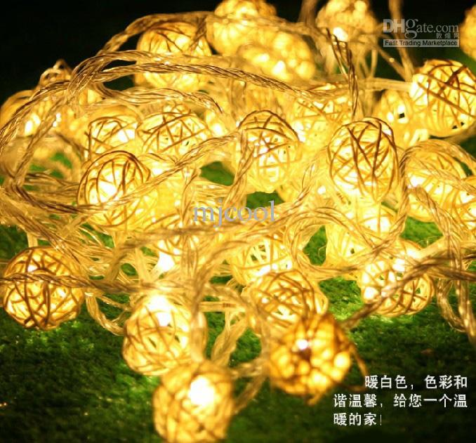 10M LED Rattan Vine Cane Cane String String Fairy Lampes de Noël Décor de mariage 110V-220V Au Royaume-Uni UE Fiche américaine