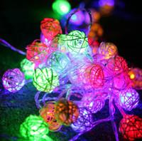 rattan dize ışıkları led toptan satış-10 M LED 38 adet Rattan vine kamışı topu Dize Peri Işıklar Noel lambaları düğün dekor 110 V-220 V AU İNGILTERE AB ABD plug