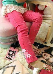 Wholesale Jeans Elastic Foot - Wholesale - Girl's Pants cotton Feet Pants autumn pants Girl's jeans cotton Hole Pencil pants Girl's Leggings