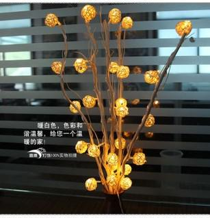 Nueva llegada normalmente en 25 unids LED rattan vine cane ball con rama de árbol cadena luces de hadas luces de navidad decoración de la boda