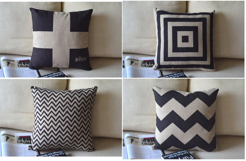 Simple Nordic Ikea Style Geometric Black Water Waves Squares Cross