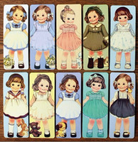 Wholesale Doll Bookmarks - 30 sheets  set Creative kawaii doll Bookmark set 30 sheets bookmark per set Cartoon Book marks little lovely girls H107