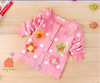 Wholesale Girls Polka Dot Cardigan - 2013 Children's baby Cardigan flowers polka dots kids clothes cute girls baby top clothing baby new