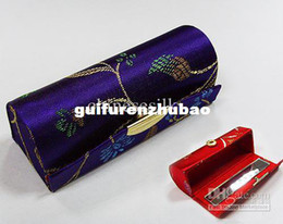 Bálsamo labial eco on-line-Caso Batom Vintage com Espelho de Seda De Metal fecho Eco Friendly Lip Balm Tubos 12 pçs / lote