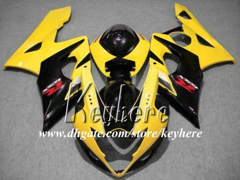 Livre 7 presentes Personalizado kit de carenagem ABS para SUZUKI GSX-R1000 2005 2006 GSXR 1000 05 06 K5 carenagens G1q amarelo preto carroçaria da motocicleta peças