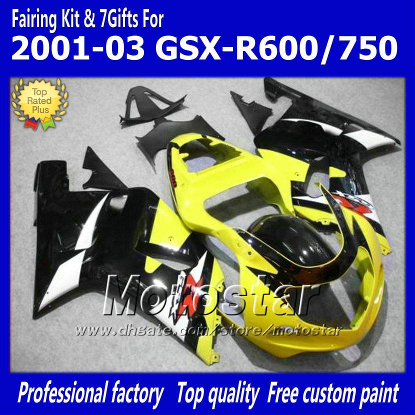 7gifts bodywork fairings for SUZUKI GSXR 600 750 K1 2001 2002 2003 GSXR600  GSXR750 01 03 R600 R750 yellow black fairing set dd38