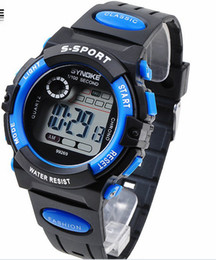 Wholesale Cheap Water Resistant Sport Watches - Cheap Fashion Sport Digital Wrist Watch LED Kids Watch Digital Movement Water Resistant Drop Free Shipping