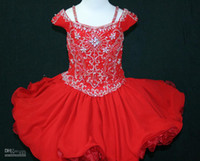 Wholesale Df Dress - Popular Fashion Lovely Red Short Sleeve Beading Crystal A-Line Pageant Dresses For Girls Flower DF