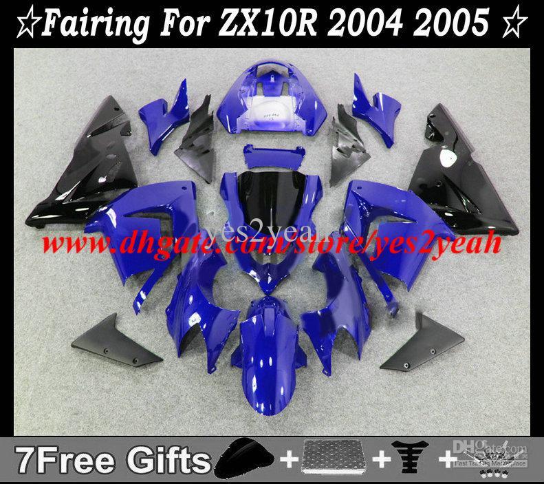 Kit de carenado para KAWASAKI Ninja ZX10R 04 05 Carrocería ZX 10R 2004 2005 ZX-10R azul negro Carenados + regalos KM44