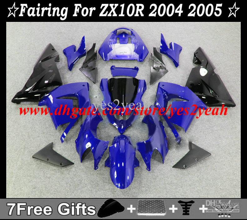 Kit de carenagem para KAWASAKI Ninja ZX10R 04 05 Carroçaria ZX 10R 2004 2005 ZX-10R azul preto Carenagens + presentes KM44