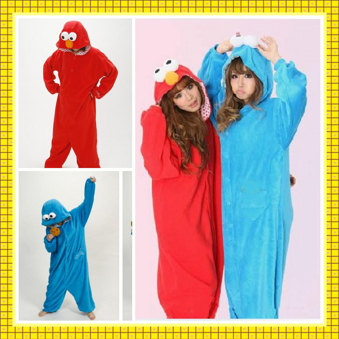 new in stock halloween sesame street cookie monster unisex adult animal onesies pajamas jumpsuits red blue homewear cheap cosplay costumes group halloween