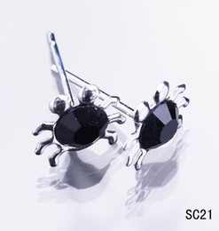 Wholesale Rhinestone Crab - Multi-color Crystal Crabs Ear Studs 925 Sterling Silver Earrings Charm Ear Nail Jewelry 20pairs box For Womens Girls Mens w stopper SC21*1
