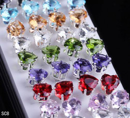 Wholesale Crystal P - 40pcs box Hearts Ear Studs Colorful Crystal Plated 925 Sterling Silver Ear Stud Earrings 5 boxes lot Ear Piercing Jewelry Free P&P SC8*5
