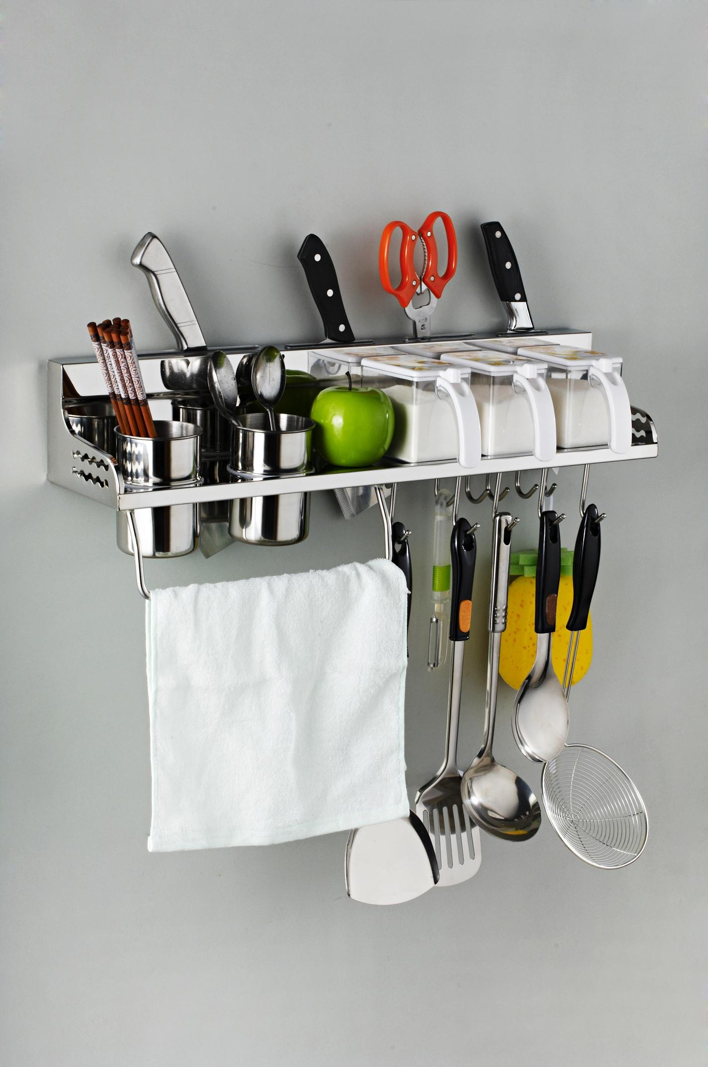 Delightful Online Cheap Shelf 304 Stainless Steel Kitchen Accessories Storage Rack  Spice Rack Hook,Kitchen Holder U0026Amp; Storage 60cm M 003a By Wzborui |  Dhgate.Com
