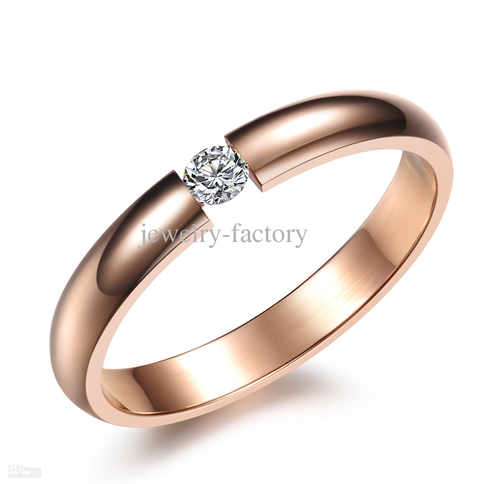 2018 rose gold plating wedding ring diamond engagement ring for
