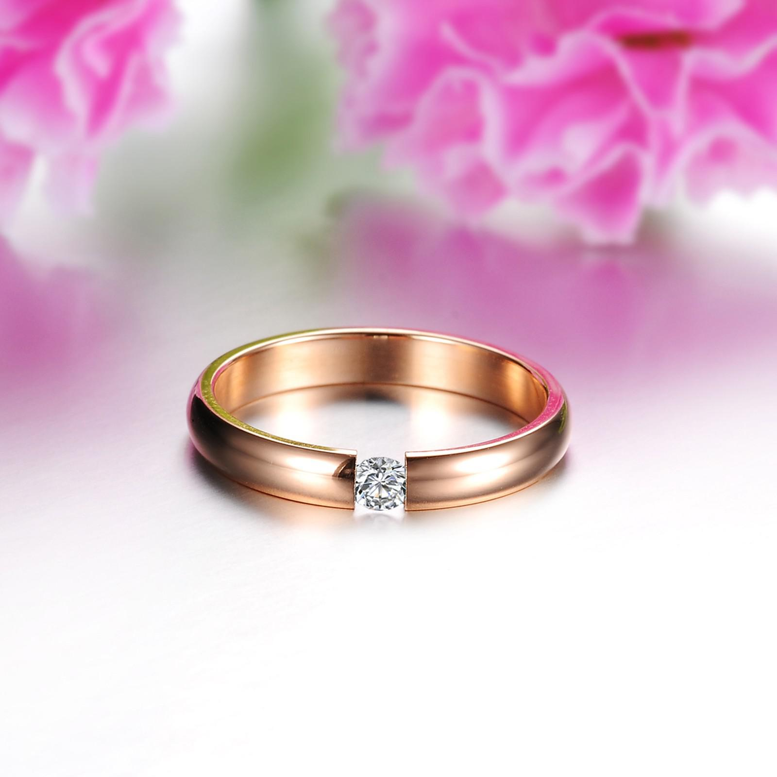 2018 Rose Gold Plating Wedding Ring Diamond Engagement Ring For Lady ...