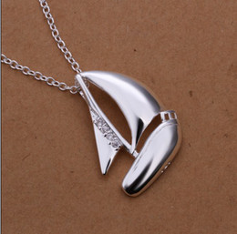 Wholesale Sail Pendant - Factory price high quality 925 sterling silver plated pendant necklace inlaid zircon sailing free shipping 10pcs lot Fashion Jewelry