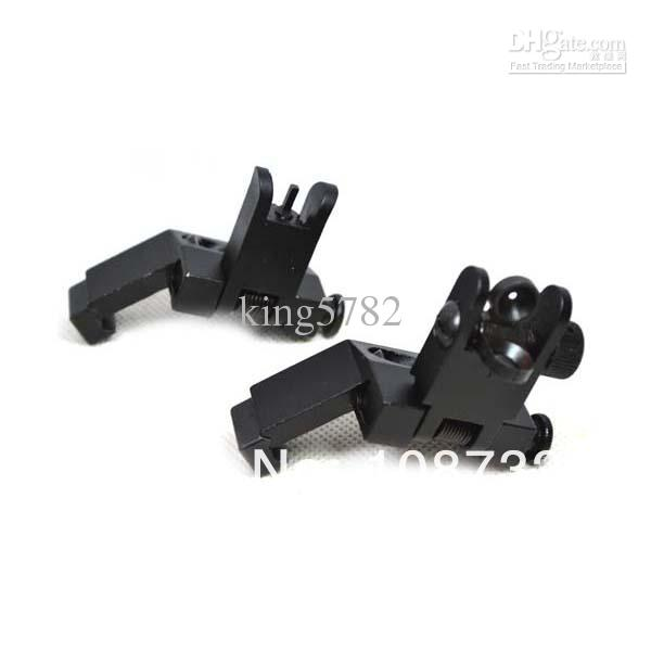 AR15 PR 15 Front and Rear Flip up 45 Degree Rapid Transition Backup Iron Sight [New Design]