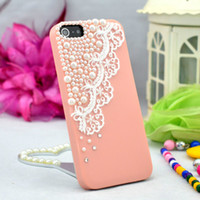Wholesale 50pcs Fashion Pearl Lace DIY Bling Hard Back Case Cover for iphone S G